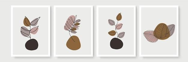 추상적 인 현대 식물 boho 포스터 컬렉션입니다. 수채화 추상 형태와 유기 보헤미안 벽 예술 포스터. 중립 파스텔 색상, 단풍 그리기.