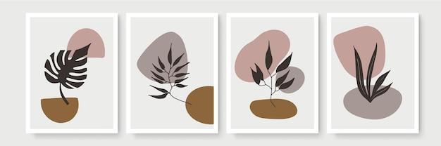 抽象的な現代の植物の自由奔放に生きるポスターコレクション。水彩の抽象的な形の有機ボヘミアン壁アートポスター。ニュートラルなパステルカラー、葉の描画。
