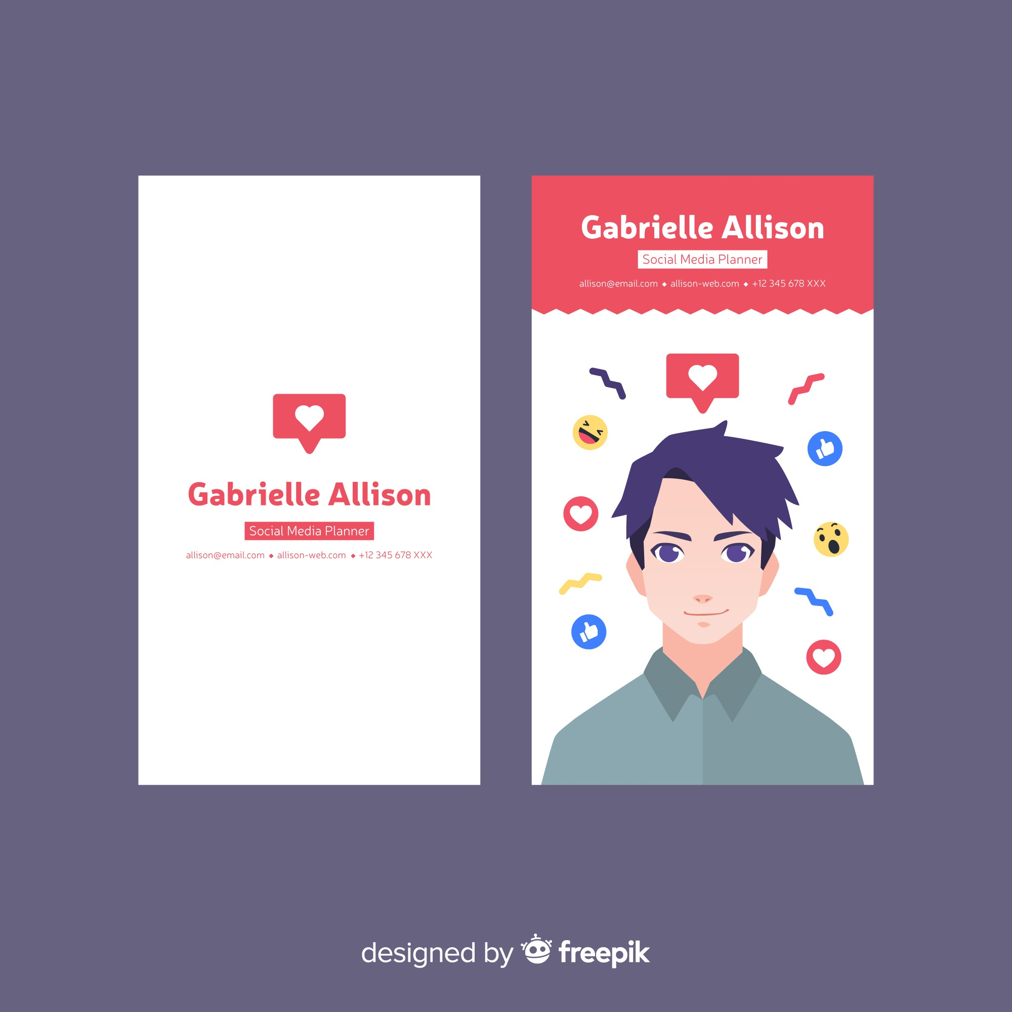 Abstract modern business card template with avatar of man