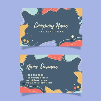 Abstract modern business card template with organic shape, modern trendy design, memphis style