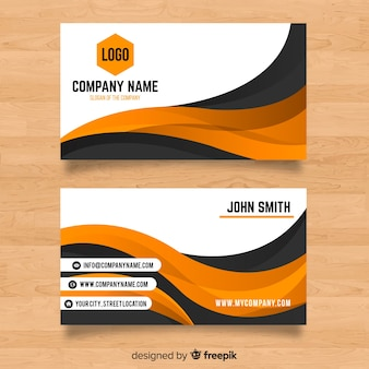 Abstract modern business card template with wavy shapes