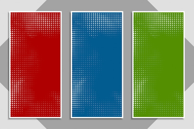 Abstract modern colorful halftone banner set