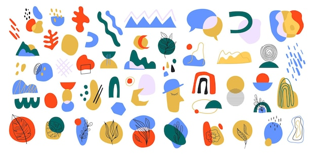 모양과 낙서 개체가 있는 추상적이고 현대적인 다채로운 세트입니다. 유행 벡터 일러스트 레이 션