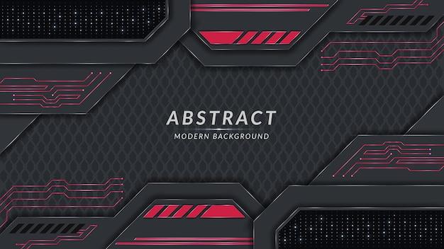 赤い回路と光の効果の背景デザインと抽象的なモダンな暗いテーマ