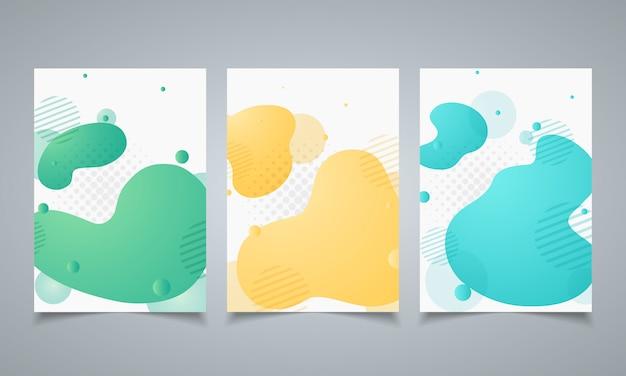 モダンなデザインの幾何学的形状の要素のパンフレットの型板 Premiumベクター