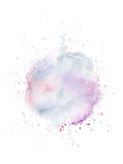 Abstract modern design with splatter stain hand-painted watercolor on white background.