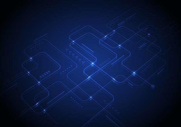 Абстрактная современная цифровая технология науки футуристическая монтажная плата с горящим светом и перспективой геометрических элементов на синем фоне. векторная иллюстрация