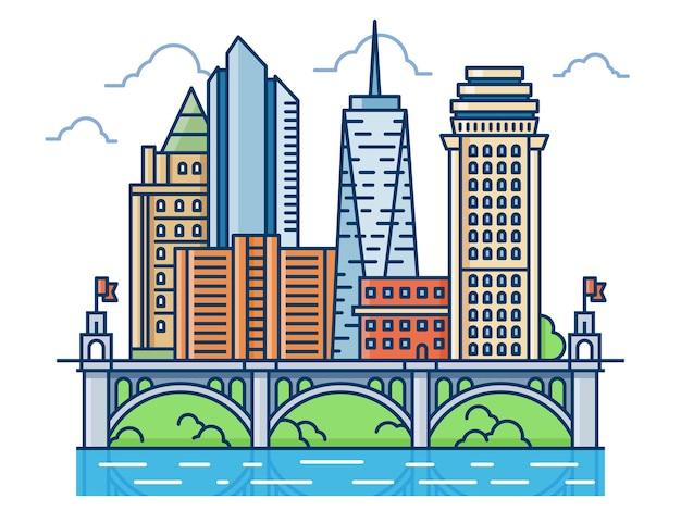 高層ビルと橋のある抽象的なモダンな地区。モダンな建物、ウォーターフロントの街並みのイラスト。