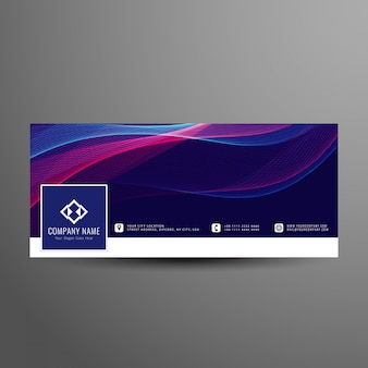 Abstract modern facebook wavy timeline cover template
