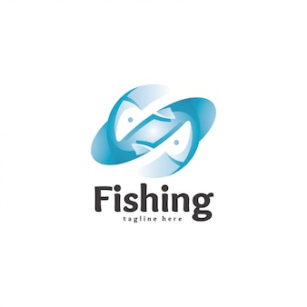 Abstract modern fish logo icon
