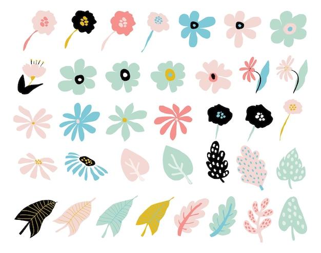 抽象的なモダンな花のセット。シンプルな花の花の形、幾何学的なコラージュ要素。現代的な花と葉のコレクション。白い背景で隔離の有機グラフィックの形。ベクトル図