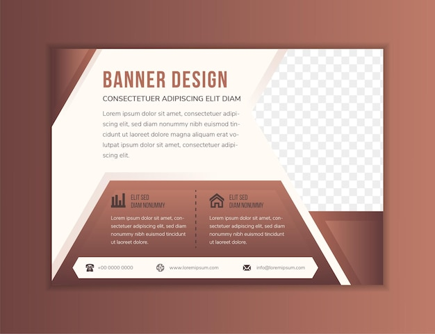 Abstract modern flyer design template use horizontal layout flat soft brown background