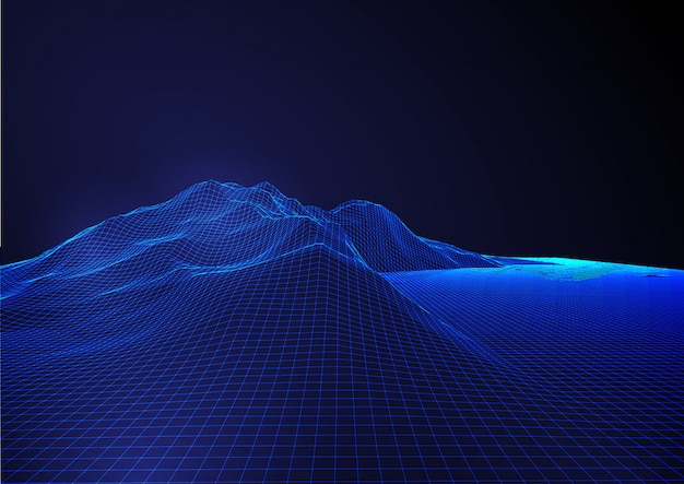 Abstract modern futuristic background with detailed wireframe terrain landscape
