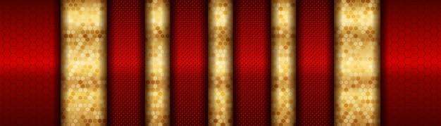빨간색과 금색 금속 방향 럭셔리 오버랩 디자인의 추상 현대 미래