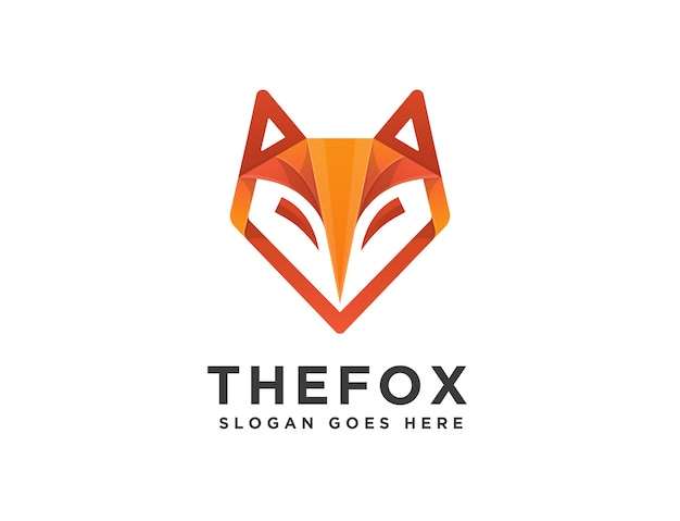 Abstract modern geometric fox head logo