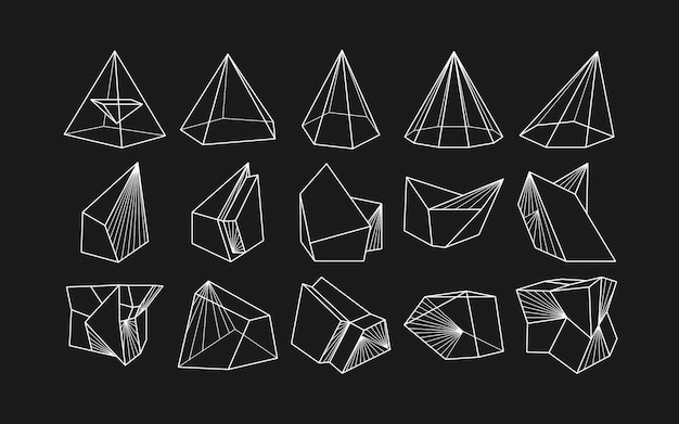 Abstract modern geometric icon set in trendy style.