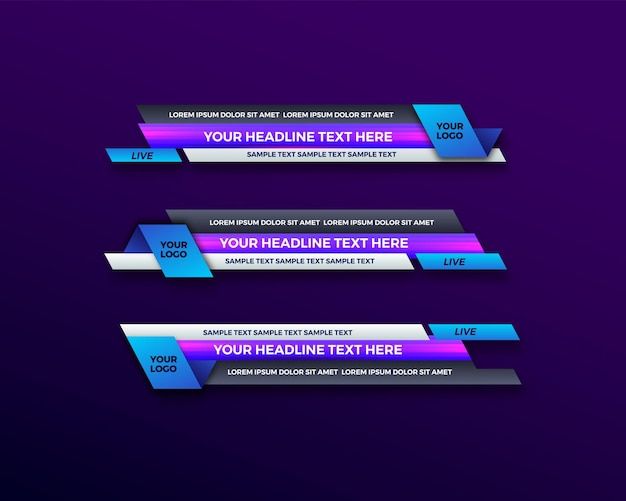 Abstract modern geometric lower third banner template design for broadcasting, live, streaming, news video, interface template.