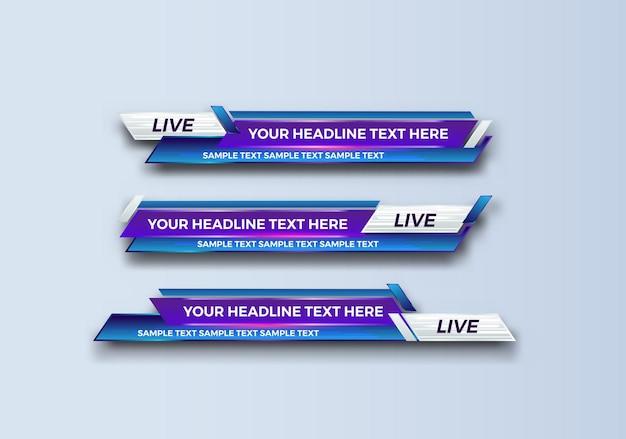 방송, 라이브, 스트리밍, 뉴스 비디오, 인터페이스 템플릿에 대한 추상 현대 기하학적 하단 세 번째 배너 템플릿 디자인.