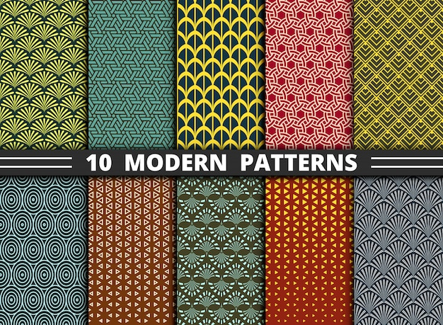 Abstract modern geometric pattern style of colorful set.
