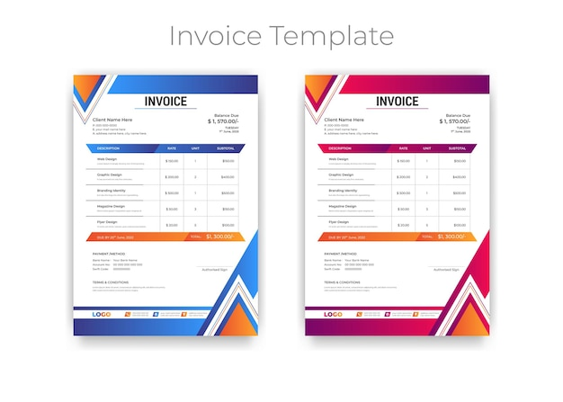 Abstract modern gradient style business invoice template