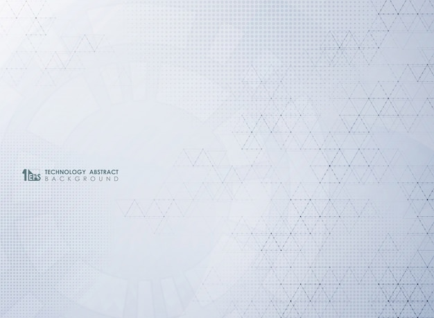 Abstract modern gray technology  of geometric decoration with halftone pattern.