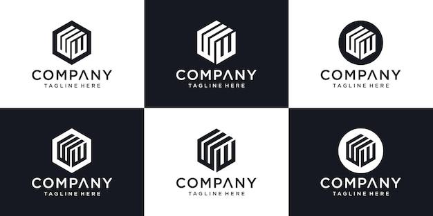 抽象的なモダンな頭文字wロゴサインデザインテンプレート