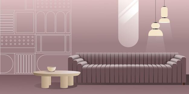 Абстрактный современный интерьер в пастельных тонах фиолетового цвета.