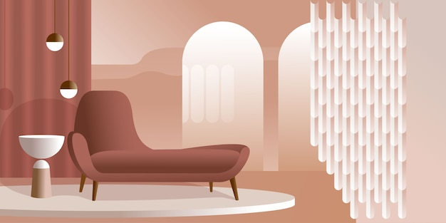 Abstract modern interior in pastel shades of coral color.