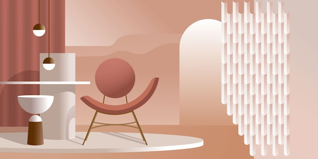 Abstract modern interior in pastel shades of pink color.