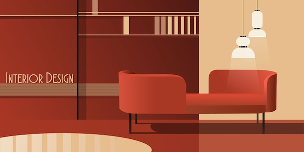 Abstract modern interior in pastel shades of red.