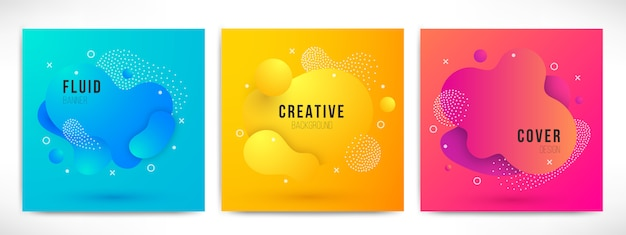 Abstract modern liquid color backgrounds set. dynamic colorful design elements. fluid gradient geometric shapes for presentation, cover, logo, flyer, web. futuristic amoeba  illustration