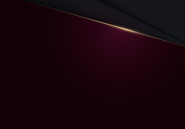 Абстрактный современный роскошный минимальный черный и красный фон вырезки из бумаги с золотой линией акцента