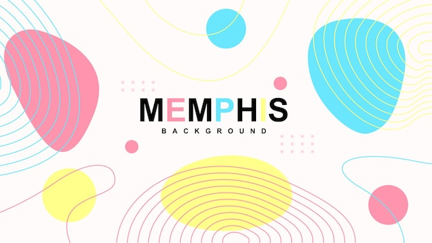 Abstract modern memphis background with elements