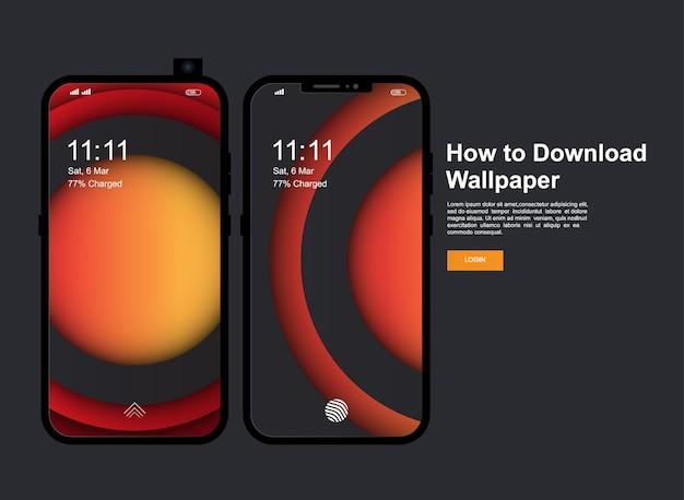 抽象的でモダンな携帯電話の画面バナーデザイン