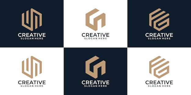 Abstract modern monogram creative logo designs collection