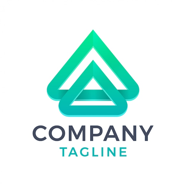 Abstract modern monoline letter a 3d gradient logo