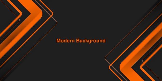 Абстрактная современная оранжевая линия на темно-сером фоне
