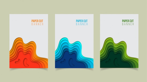 Abstract modern paper cut banner design