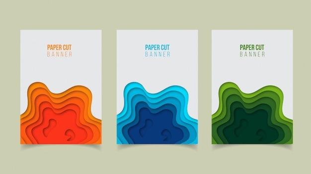 Abstract modern paper cut banner design