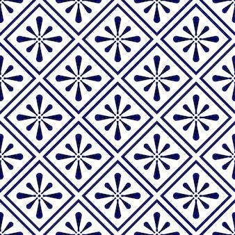 青と白の抽象的なモダンなパターン、磁器のシームレスな花、セラミックの壁紙の装飾、印刷テクスチャとシルク、ヴィンテージのタイル、陶器の装飾ベクトルの藍のテンプレートデザイン