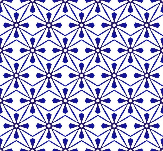 抽象的なモダンなパターンの青と白、磁器のシームレスな花柄