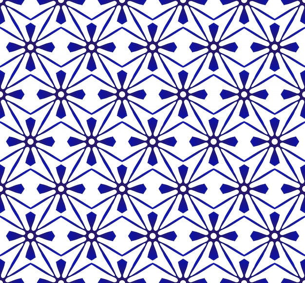 Abstract modern pattern blue and white, porcelain seamless floral