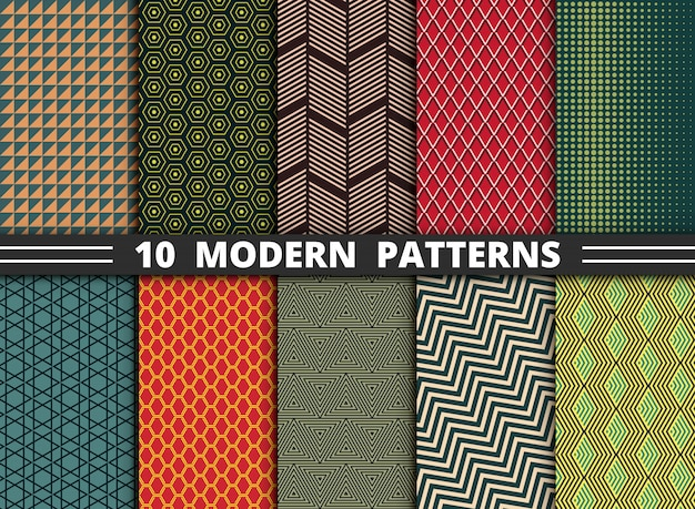 Abstract modern pattern of geometric colorful style set
