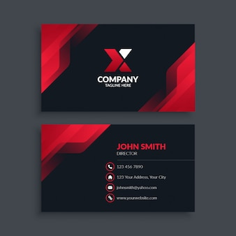 Abstract modern red business card