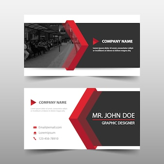 Abstract modern red corporate business card