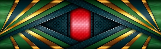 Abstract modern red green design background polygonal with golden line