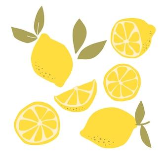 흰색 배경에 고립 된 레몬 과일 아이콘의 추상 현대 세트. 벡터 손으로 그려진된 평면 그림입니다. 레몬 로고 디자인.