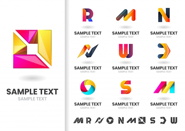 Abstract modern shape logo set