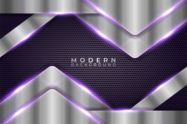 Abstract modern shiny metallic geometric overlapped arrow silver with purple background