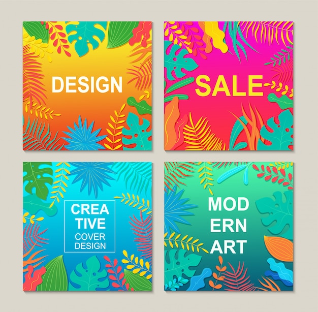 Abstract modern square banners templates with floral elements.